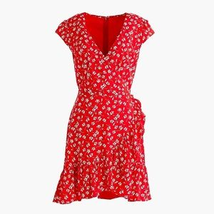 J.Crew Mercantile faux-wrap Mini Dress (Red)